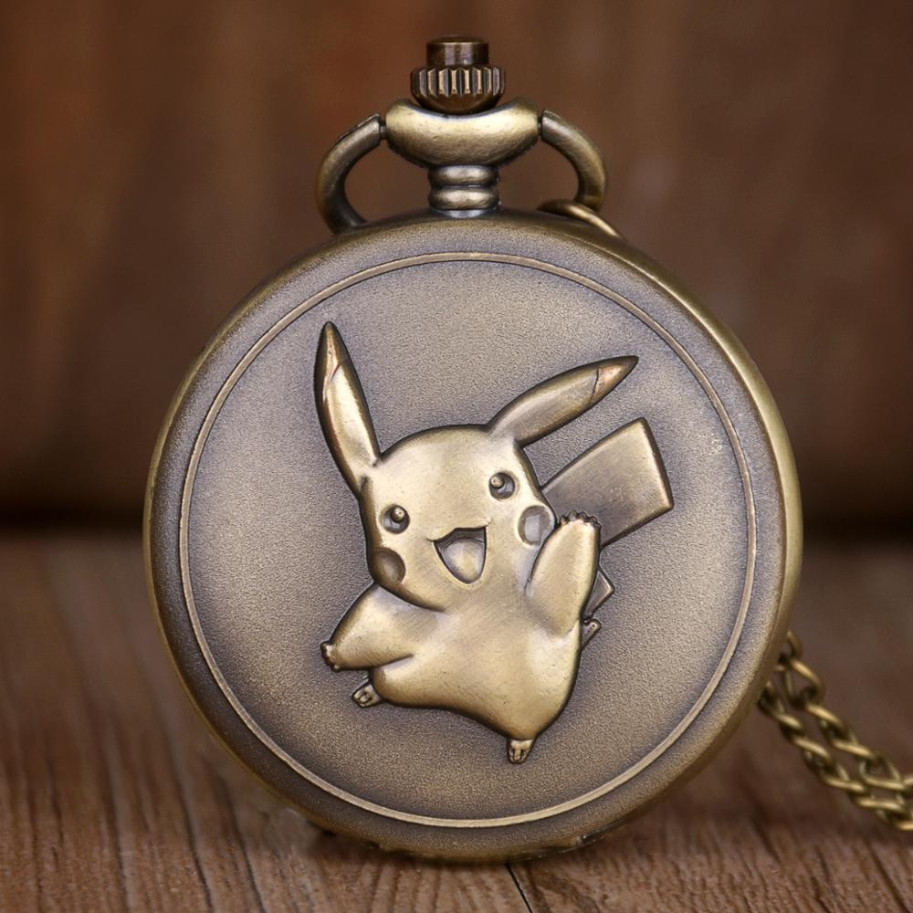 Bronze Steampunk Style Quartz Pocket Watch Cartoon Design FOB Clock Chain Montre Infirmiere Clock Gifts For Girl Drop Shipping