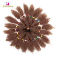 12 Culry Crochet Braids Hair Extensions Synthetic Ombre Braiding Hair Afro Kinky Bulk Twist Braids Black Brown Golden Beauty beauty bar hair rings brown