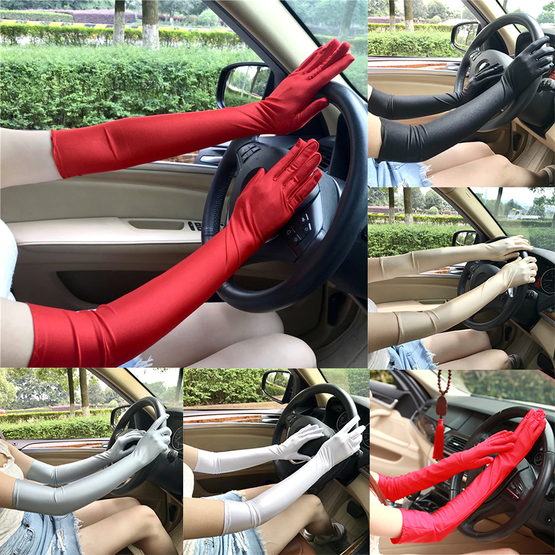 New Style Women Driving Sunscreen UV Protection Gloves Party Prom Etiquette Long Gloves Solid Color Fashion Female Mittens
