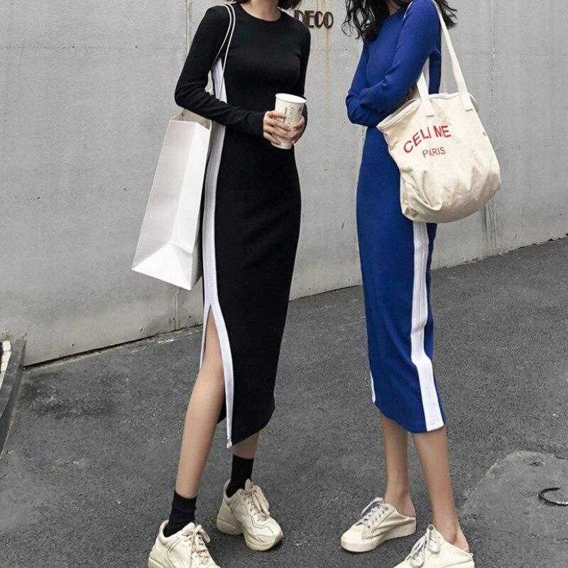 Women Dress Side Stripe Split Vintage Casual Long Autumn Korean Style Sleeve Blue Black