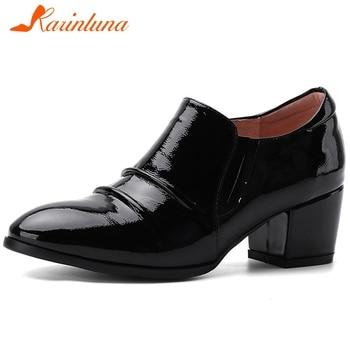 Karinluna Hot Sale 2020 Patent Leather Chunky Heels Spring Pumps Woman Shoes Slip On Black Shoes Women Pumps Lady