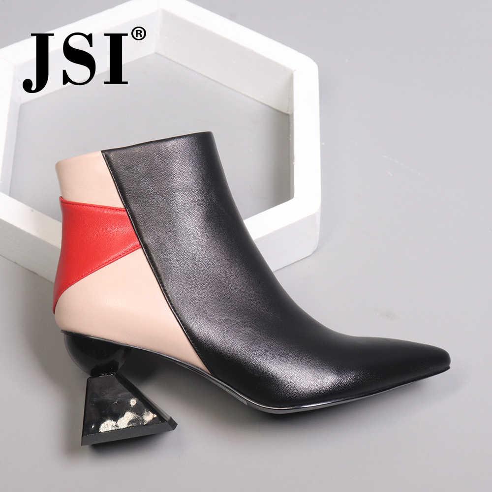 JSI Kış Ayak Bileği Kadın Çizmeler Garip Tarzı Sivri Burun Karışık Renkler Bayan Ayakkabıları Hakiki Deri Yüksek Topuk Kadın Botları JC427