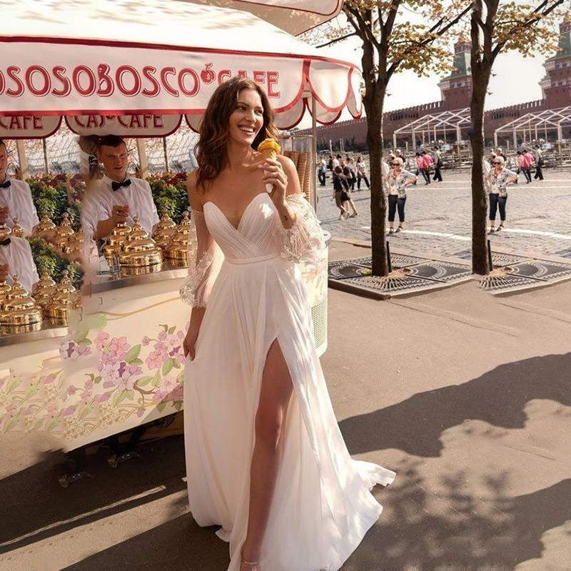 Beach Wedding Dresses 2020 Sexy Side Split Boho Bridal Party Wedding Gowns Sweetheart Lace Bohemian Bride Dress Custom Made