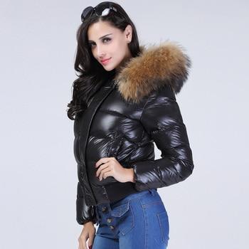 Real Raccon Fur Hooded Waterproof Winter Puffer Jacket Women Slim 90% Duck Down Coat Short Shiny Female Feather Down Parka