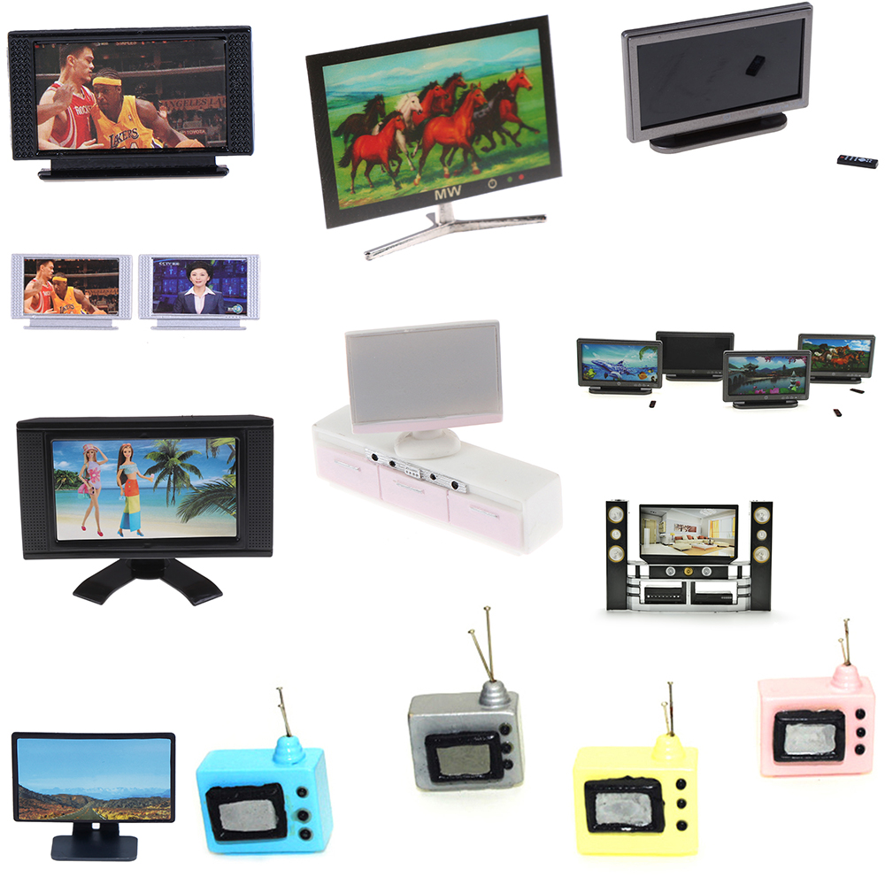 Multi DIY Wide Screen Television Flat-Panel LCD TV Classic Pretend Play Toy For Children Baby Furniture Toys Dollhouse Miniature