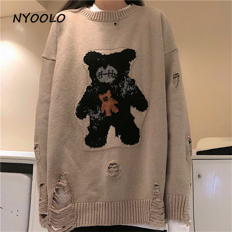 NYOOLO Casual Street Bear Jacquard Destroyed Hole Knitted Sweater Autumn Winter Loose O-neck Warm Pullover Sweater Women Men