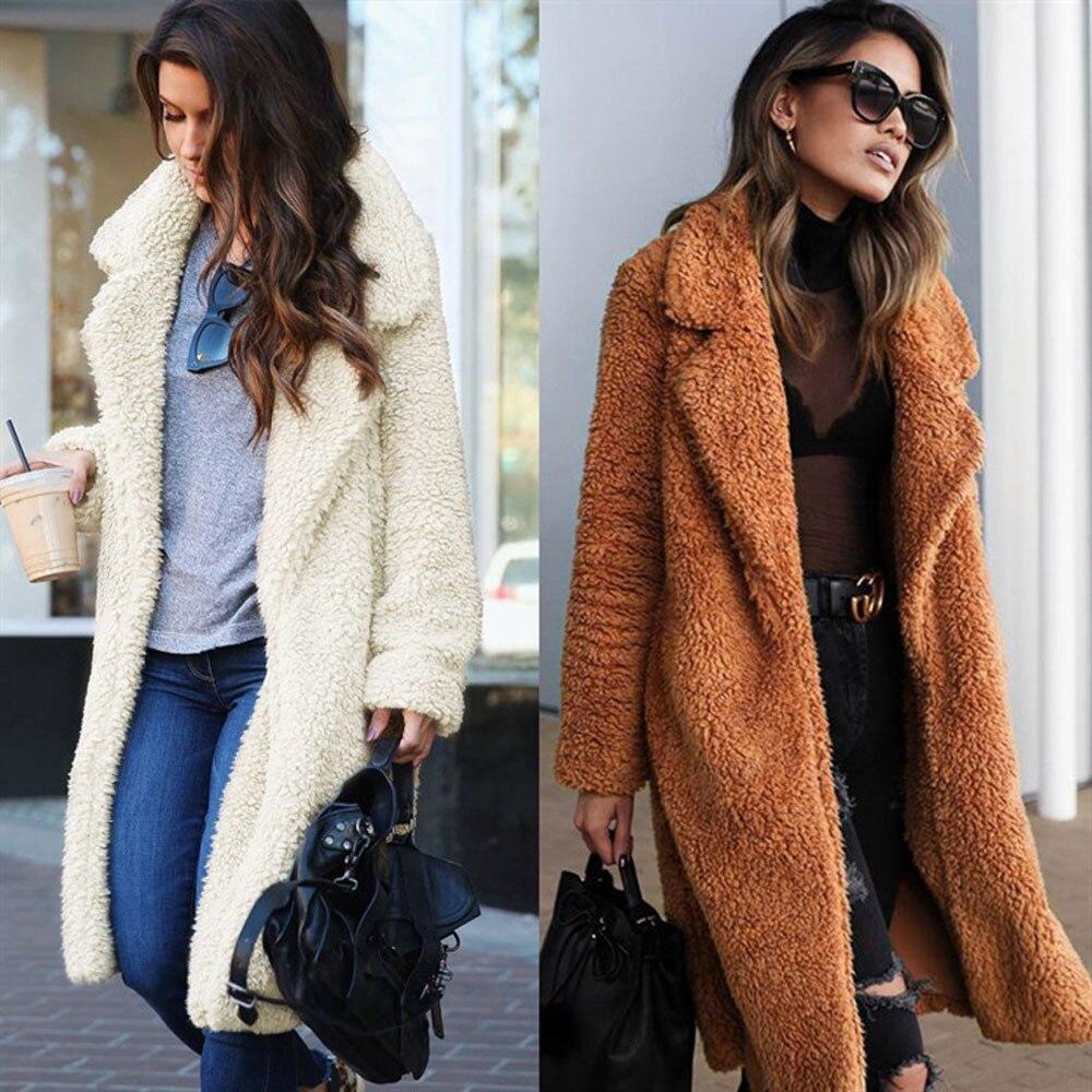 Женская длинная плюшевая куртка, повседневное пальто, Европейская и американская мода, длинное пальто для женщин, плюшевое повседневное пальто|Куртки из искусственного меха|   | АлиЭкспресс