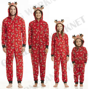 2019 New Fashion Christmas Family Matching Zip Pajamas Adult Women Kids Baby Sleepwear Set Plus(China)