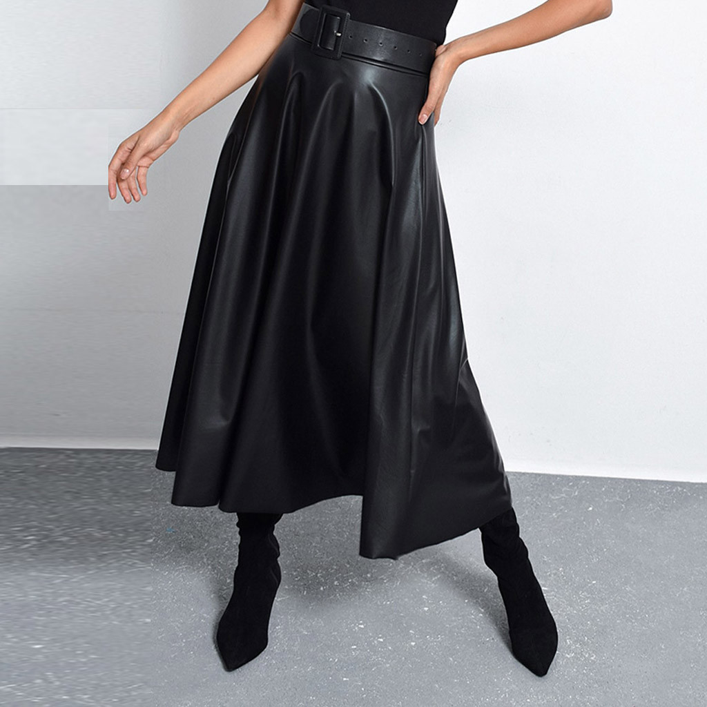 Faux Leather Women Mid-Calf Skirt Black PU Belt High Waist Female Skirts Spring Autumn A-Line Party Layered Pleated falda 3.9 image
