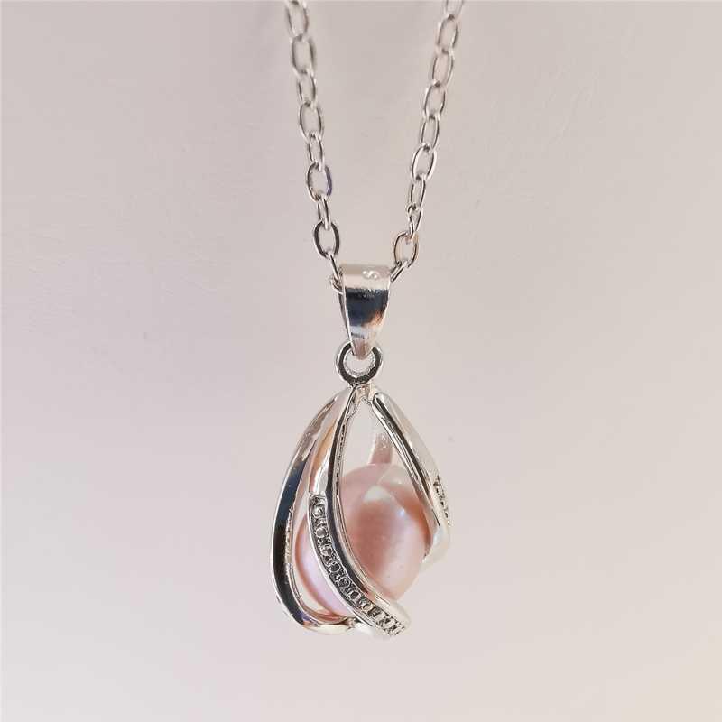 DAIMI Pearl สร้อยคอ 925 เงินสเตอร์ลิง 8-9 มม.สไตล์โบฮีเมียนสีขาว/สีดำ/สีชมพู/สีม่วง Pearl จี้สร้อยคอสำหรับผู้หญิง