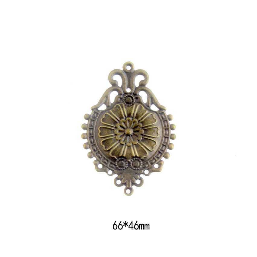 Free Shipping 5Pcs Antique Bronze Filigree Flower Wraps Connectors Embellishments Gift Decoration DIY Findings 6.6x4.6cm F0401