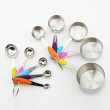 10 шт./партия, измерительные чашки и ложки из нержавеющей стали, прочные кухонные инструменты для приготовления выпечки, силиконовые ручки