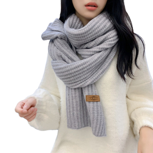 Sparsil Women Unisex Winter Cashmere Long Scarf Solid Coarse Wool Wraps Long Thick Warm Winter Knitted Scarves Shalws Female(China)