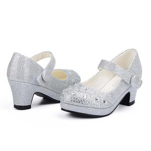 Image 4 - Children Princess Shoes for Girls Sandals High Heel Glitter Shiny Rhinestone Enfants Fille Female Party Dress Shoes