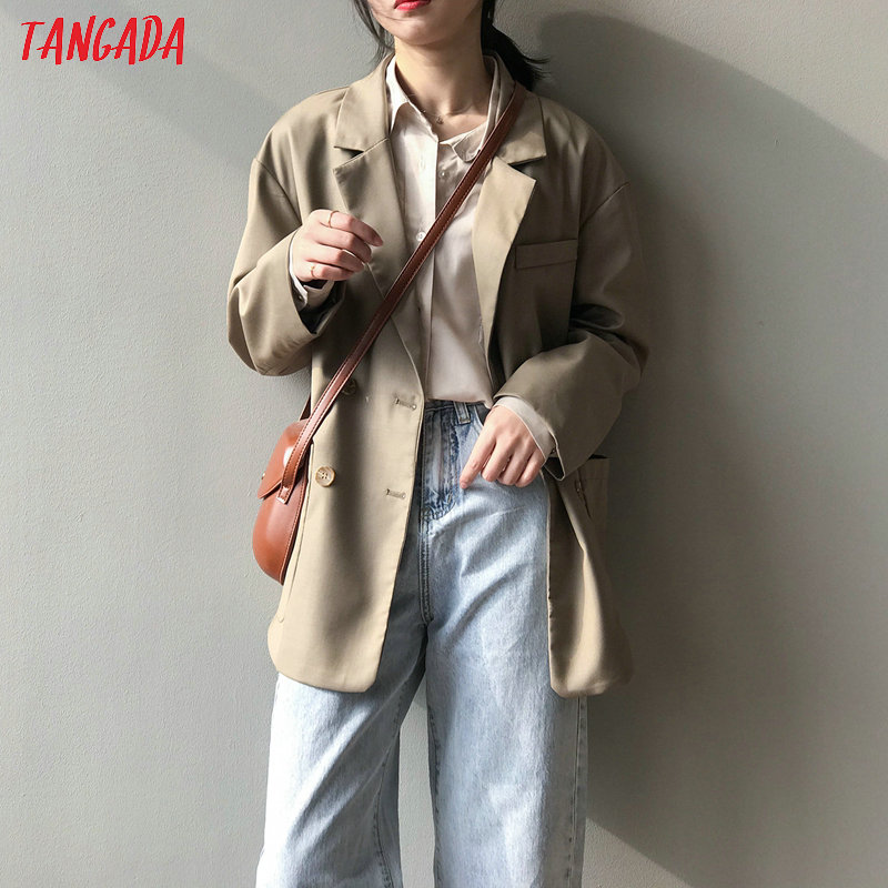 Tangada Women Vintage Solid Oversized Blazer Female Long Sleeve Elegant Jacket Ladies Work Wear Blazer Formal Suits ASF04