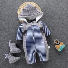 Комбинезоны для новорожденных; коллекция года; зимний теплый комбинезон для маленьких девочек и мальчиков; Детские хлопковые комбинезоны; толстовки с капюшоном; одежда для детей; комбинезон для малышей
