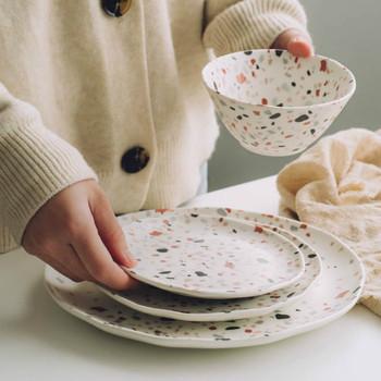 Lastryko płytkie talerze naczynia deserowe miska zestawy zastawy stołowej salaterka talerze ceramiczne zestaw obiadowy talerze i naczynia zestaw naczyń tanie i dobre opinie CN (pochodzenie) ROUND Geometryczny Wzór