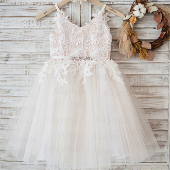 White Lace Flower Girl Dress  Sash Tulle Pageant First Communion Dresses Prom Ball Gown Princess Baby Girl Party Dress 2018 light blue princess sheer lace flower girl dresses pageant prom baby party frocks for girls first communion puffy gowns