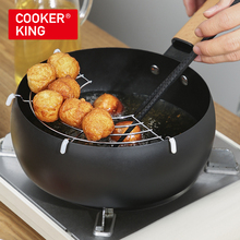 COOKER KING Fried Sauce Pan Heat-resistant Long Wooden Handle With Filter Stainless Steel Rack Milk Pot Not Sticky Easy to Clean