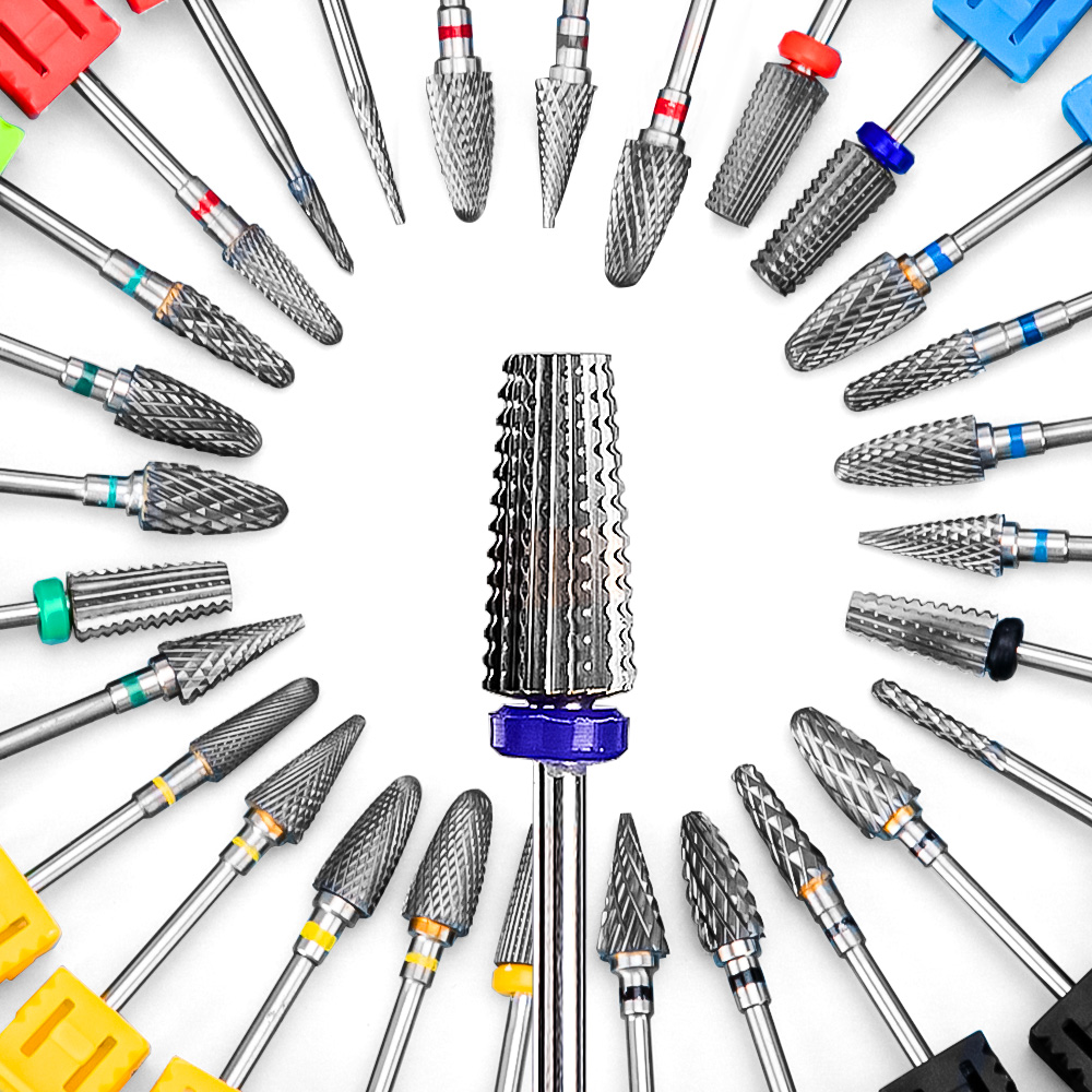 Carbide Tungsten 5 in 1 Nail Drill Bit Tapered Shape Straight Cut drill bit for Acrylic Nail Gel 3/32\