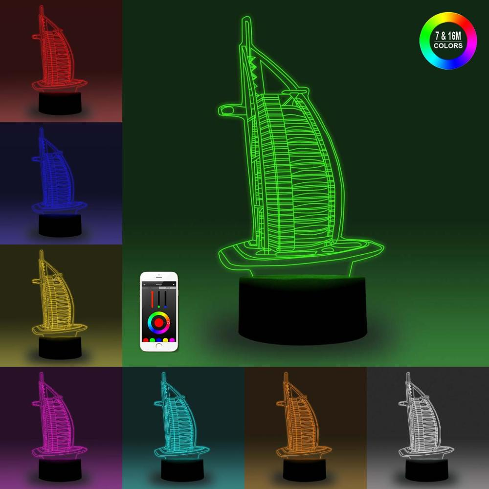 NiteApps 3D Burj Al Arab Hotel Night Light Desk Table Illusion Decoration Lamp Holiday Birthday Gift APP/Touch Control