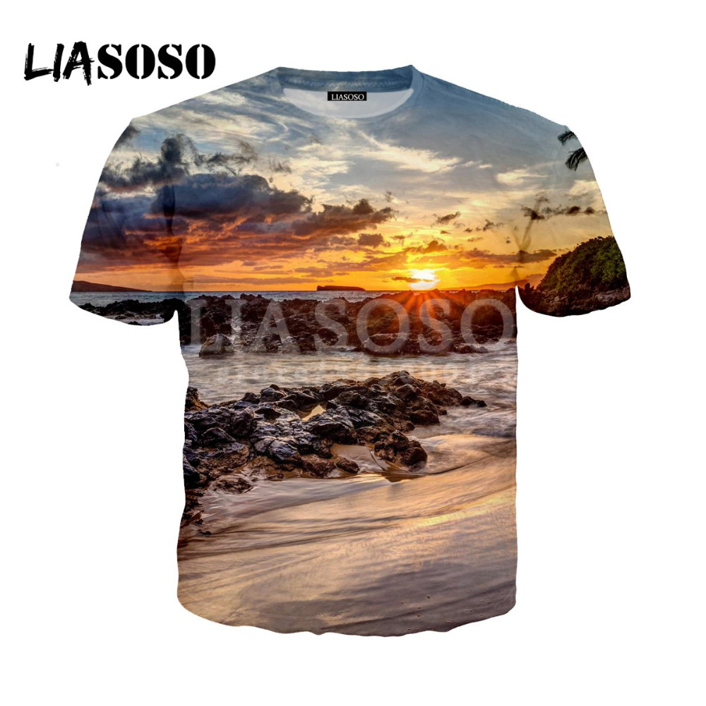 2019 3D Print Women Men Design Scenery Hawaii Beach Sea Sunset Tshirt Summer T-shirt Hip Hop Pullover Short Sleeve harajuku image