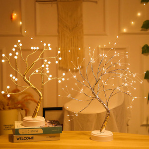 Image 5 - 108 LED USB Fire Tree Light Copper wire Table Lamps Night light for Home Indoor Bedroom Wedding Party Bar Christmas Decoration
