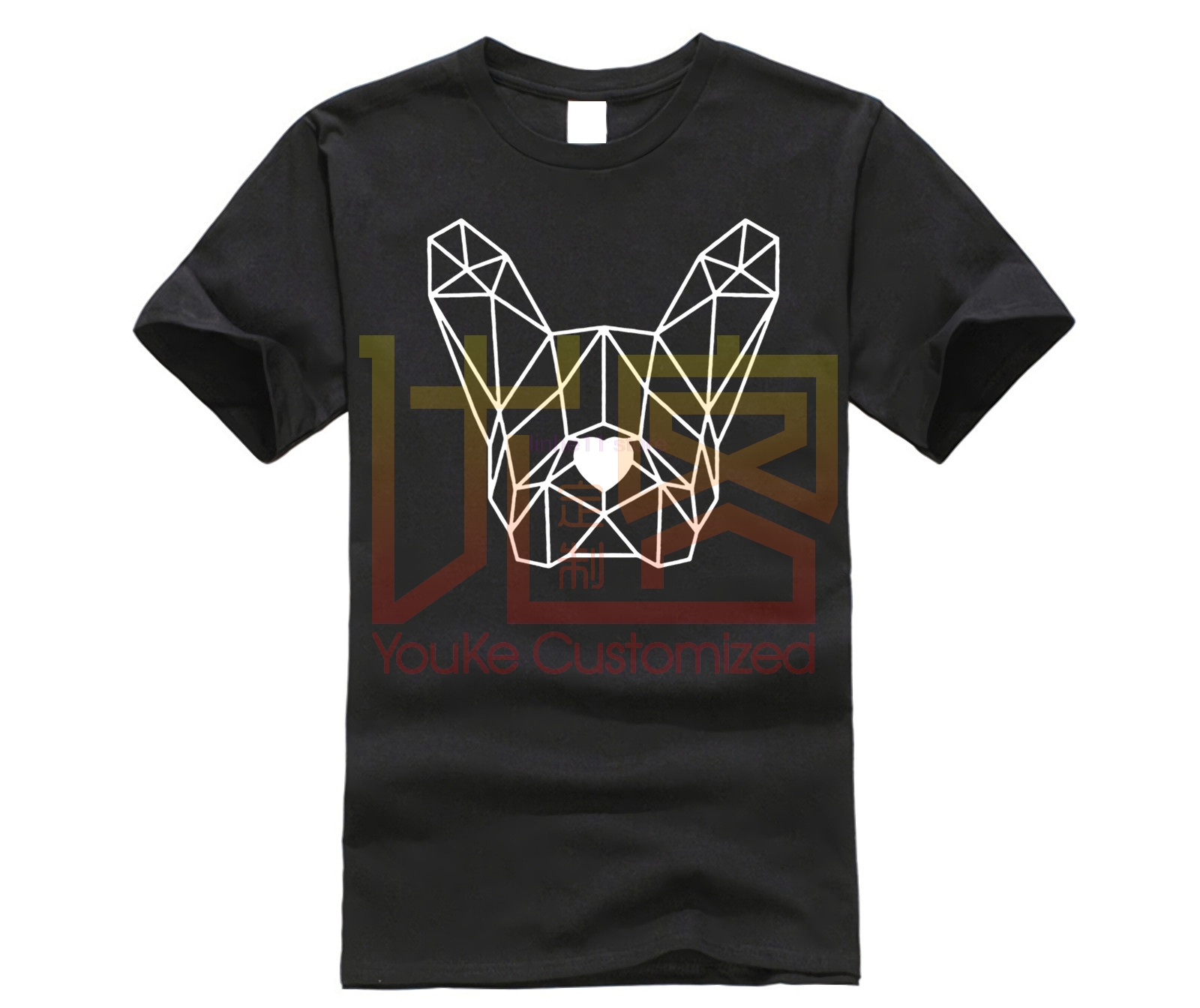 Geometric Polygon <font><b>Dog</b></font> Head T-shirt French Bulldog Pet T Shirts Simple Line <font><b>Art</b></font> <font><b>Tshirt</b></font> Short Tees Minimalism Top Quality Mens image