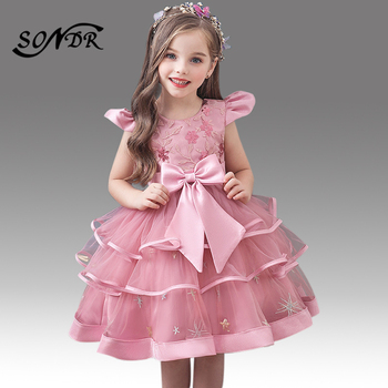 2016 new bling sequin hot pink flower girl dresses with bow baby birthday glitz party dress beauty pageant dresses ball gowns Sparkling Sequin Tiered Princess Ball Gowns HT222 Short Sleeve O-Neck Flower Girl Dresses Embroidery Bow Girls Pageant Dress