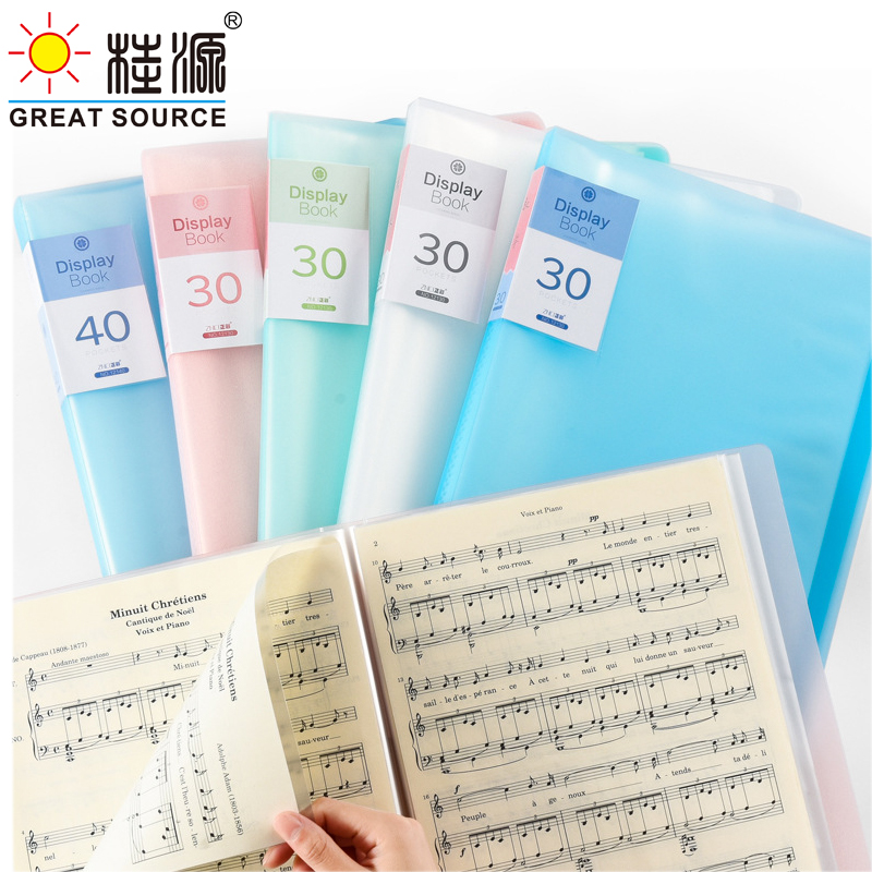 A4 Project Folder Presentation Book PP Display Book 60 Transparent Pockets Fancy Candy Color 4PCS