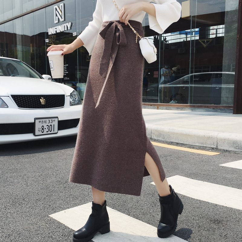 Ulzzang Skirt Women's Fall And Winter Clothes 2018 Slit Knitted High-waisted Medium-length Dress Rabbit Fur Skirt 9246 Photo Sho