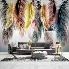 Large 3D wallpaper mural custom hand-painted Nordic modern color feather TV sofa background wallpaper mural free shipping large mural sofa tv background wall custom european style painting wallpaper tulip mural