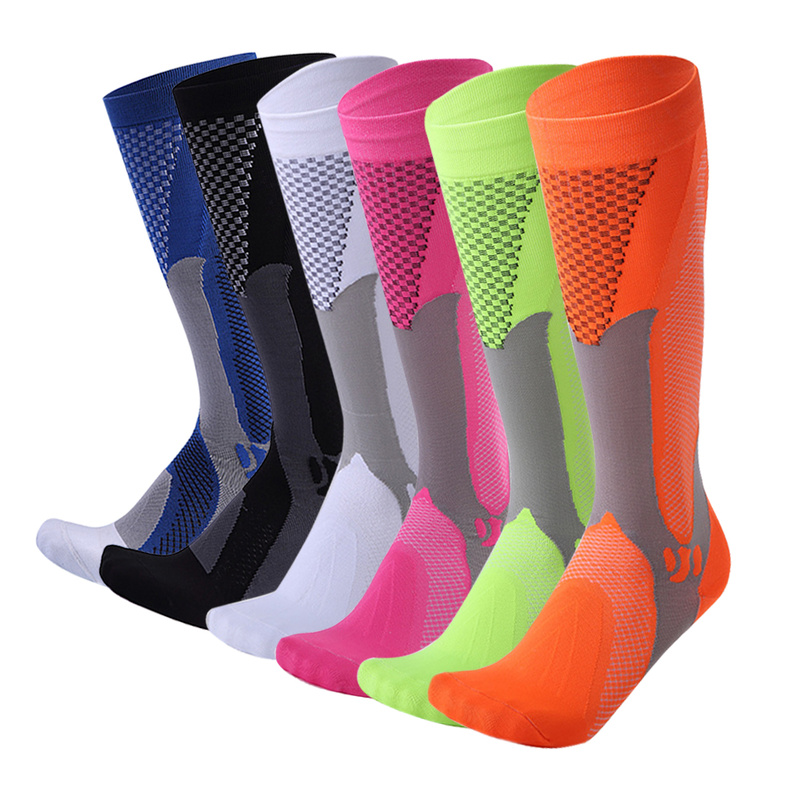 Long Tube Compression Stockings For Men And Women Marathon Outdoor Sports Socks Adult Running cycing pilates Compression Socks-in Hiking Socks from Sports & Entertainment