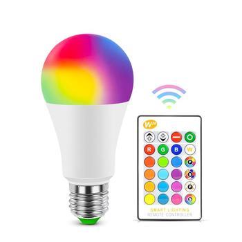 E27 Bluetooth RGB lampa z żarówką LED E14 LED lampa z IR lampka ze zdalnym sterowaniem żarówka kryty Home Decor inteligentna lampa oświetleniowa IC tanie i dobre opinie Mannanov CN (pochodzenie) ROHS Żarówki led 270 ° Epistar 3-8 ㎡ 220V 2700 k 20000 LED Light Bulb Globe Bubble ball żarówki