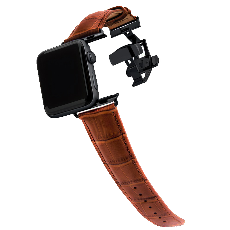 Butterfly Buckle Bracelet Strap For Apple Watch Band 44mm 42mm 40mm 38mm Iwatch Pulseira 5/4/3/2/1 Genuine Leather Watchband