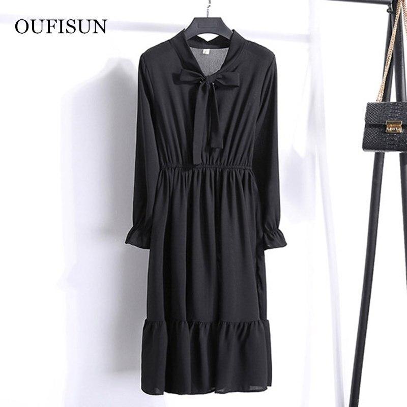 Long Sleeve Spring Summer Women Black White Dress Vintage Female Polka Shirt Office Lady Dresses Chic Girl Vestidos Midi Dress