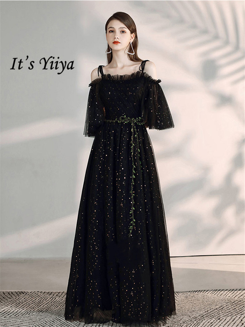 It's Yiiya Evening Dress 2019 Star Pattern Black Boat Neck Party Formal Gowns Elegant Spaghetti Strap Lace Up A-Line Dress E1097