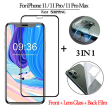 3-in-1 Tempered Glass for iphone 11promax Screen Shield Protector Lens Glass Sticker on Iphon 11 pro Clear Back Film aiPhone 11+ 3 in 1 cristal templado for iphone 11 screen protector sticker glass on iphone 11 pro max clear back film for i phone 11 11pro