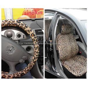 """Image 3 - AUTOYOUTH Luxury Leopard Print Car Seat Cover Universal Fit  Seat Belt Pads,and 15"""" Universal Steering Wheel Car Seat Protector"""