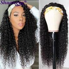 Afro Kinky Curly Headband Wigs 100% Remy Human Hair Wigs By Women Peruvian 180% Density 8-30 Inch Curly Wave Headband Wig