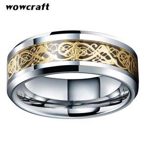 Image 2 - Anel de carboneto de tungstênio incrustado de fibra de carbono preto das mulheres dos homens bordas chanfradas polido ouro dragão aniversário casamento anéis