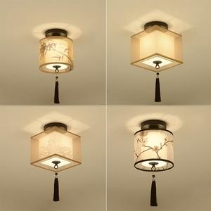 Image 3 - Klassischen Japanischen Led Decke Lampe Vintage Retro Suspension Leuchte Stoff Schatten Oberfläche Montieren Chinesische Decke Leuchten