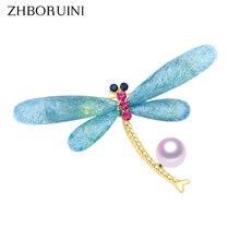 Zhboruini Высококачественная брошь с натуральным пресноводным