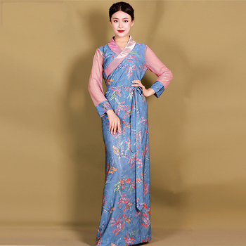 women  long tibet dress summer elegant costume oriental traditional ethnic clothing style robe national gown