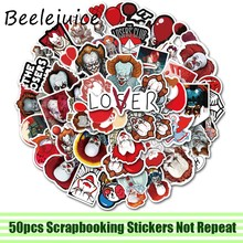 50 stücke Stephen König der Es Clown Aufkleber paster anime film decals scrapbooking diy telefon laptop wasserdicht home dekorationen(China)