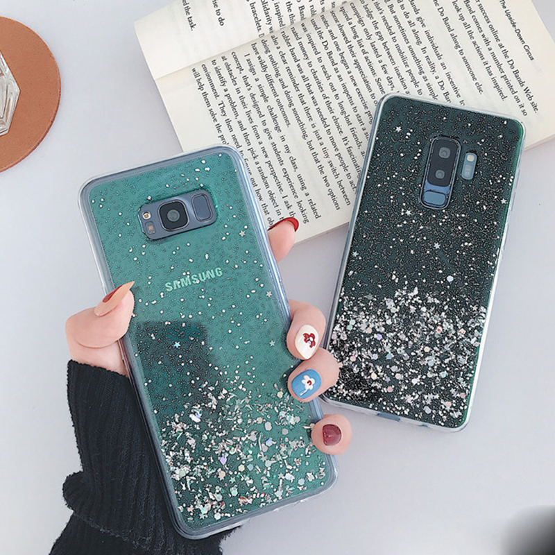 Paillettes paillettes étui pour Samsung S20ultra s10plus époxy étoile silicone transparent pour Samsung s8 s9 a51 a71 a81 a91 housse en TPU