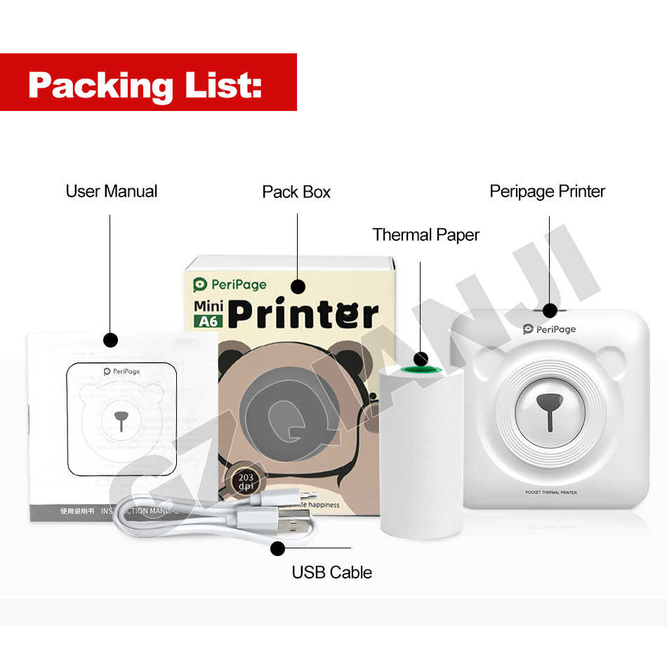 Portable Thermal Bluetooth Printer Mini Foto Foto Printer untuk Ponsel Android IOS Ponsel 58Mm Saku Mesin Hadiah Natal