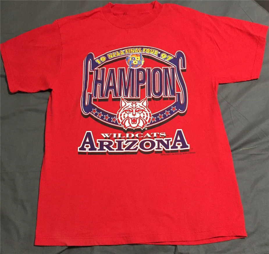 Vintage 90s University of Arizona Collared Polo Shirt Red Small 1997 Final Four College Basketball Button Shirt