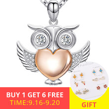 New 100% 925 sterling silver diy design cute animal owl pendant chain necklace with CZ stone fashion jewelry making women gifts