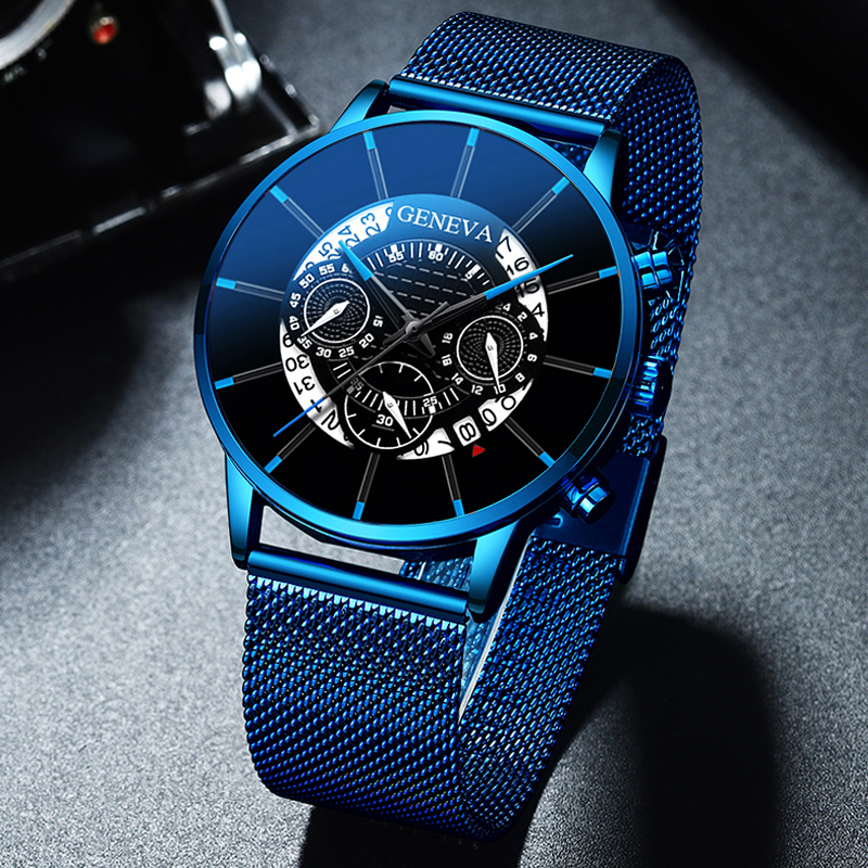 Мужские часы Relojes Masculino, модные роскошные часы из нержавеющей стали с календарем, аналоговые кварцевые наручные часы, деловые синие часы